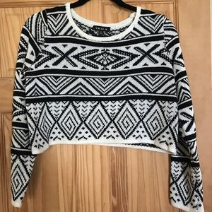Sweaters - Crop Sweater with Aztec Print